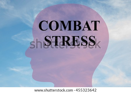 """Render illustration of """"COMBAT STRESS"""" script on head silhouette, with cloudy sky as a background. - stock photo"""