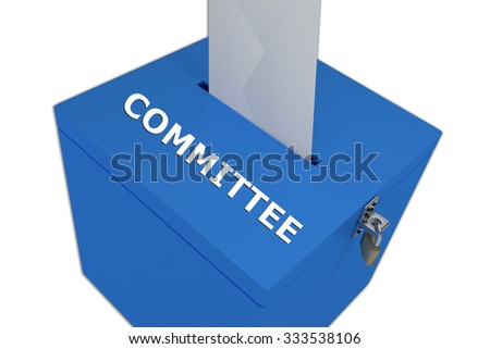 Render illustration of Committee title on ballot box, isolated on white. - stock photo
