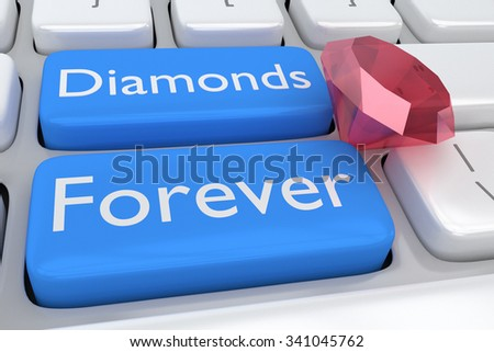 Render illustration of computer keyboard with the print Diamonds Forever on two adjacent pale blue buttons and a red diamond among buttons - stock photo