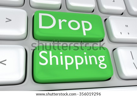Render illustration of computer keyboard with the print Drop Shipping on two adjacent green buttons - stock photo