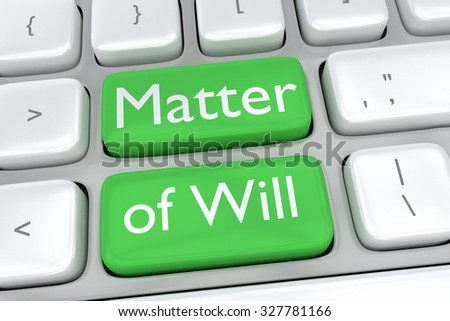 Render illustration of computer keyboard with the print Matter of Will on two adjacent green buttons