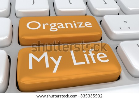 Render illustration of computer keyboard with the print Organize my Life concept on two adjacent pale orange buttons - stock photo