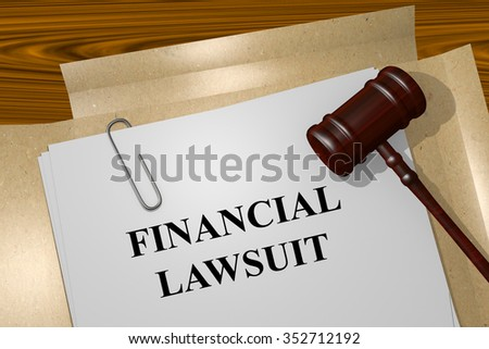 Render illustration of Financial Lawsuit title On Legal Documents - stock photo