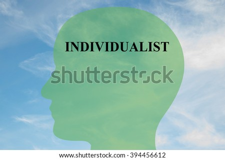 Render illustration of INDIVIDUALIST title on head silhouette, with cloudy sky as a background. Human mentality concept. - stock photo