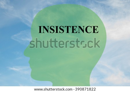 Render illustration of Insistence title on head silhouette, with cloudy sky as a background - stock photo