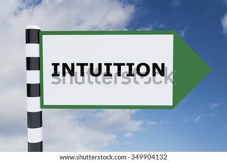 Render illustration of Intuition title on road sign - stock photo