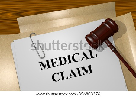 Render illustration of Medical Claim title On Legal Documents - stock photo