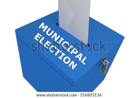 Render illustration of Municipal Election title on ballot box, isolated on white. - stock photo