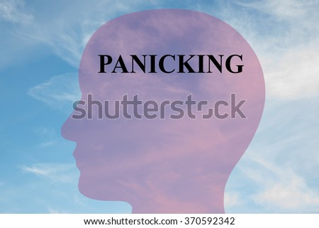 Render illustration of Panicking title on head silhouette, with cloudy sky as a background. - stock photo