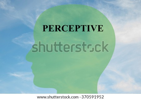 Render illustration of Perceptiver title on head silhouette, with cloudy sky as a background - stock photo