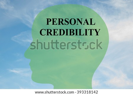 Render illustration of Personal Credibility title on head silhouette, with cloudy sky as a background - stock photo
