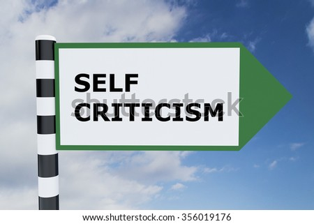 Render illustration of Self Criticism title on road sign