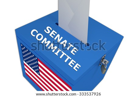 Render illustration of Senate Committee title on ballot  box, isolated on white. - stock photo