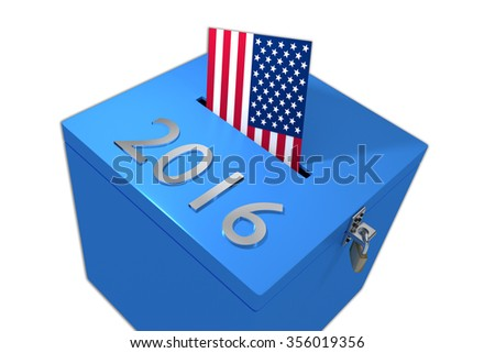 Render illustration of 2016 title on ballot box, isolated on white, with US flag as an voting envelope. - stock photo