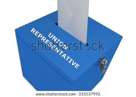 Render illustration of Union Representative title on ballot box, isolated on white. - stock photo