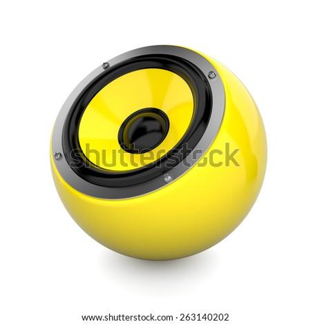 Render illustration of yellow sound speaker on white - stock photo