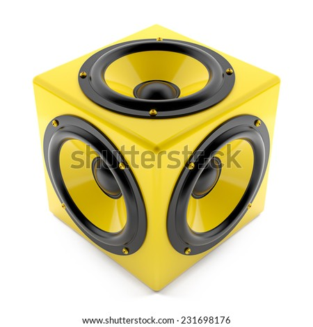 Render illustration of yellow sound speakers on cube - stock photo
