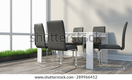 Render modern interior office room for negotiations