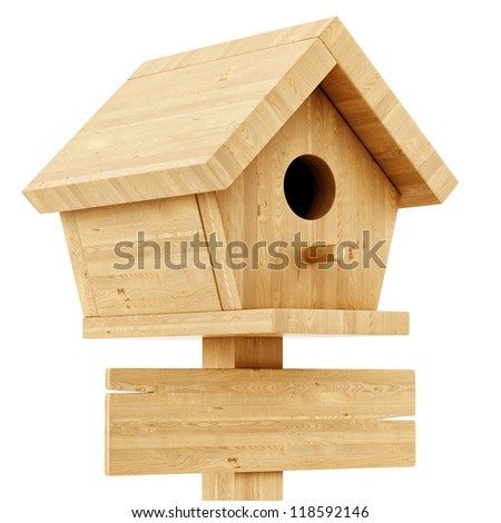 render of a birdhouse with a wooden sign, isolated on white - stock photo
