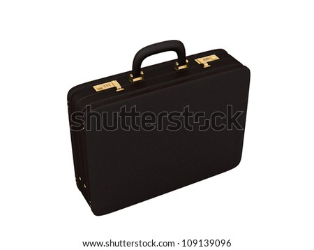 render of a brown leather briefcase on a white background