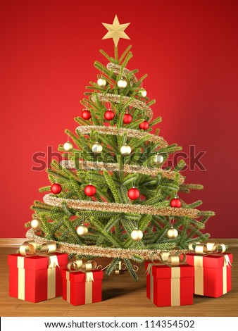 render of a Christmas tree with gift boxes