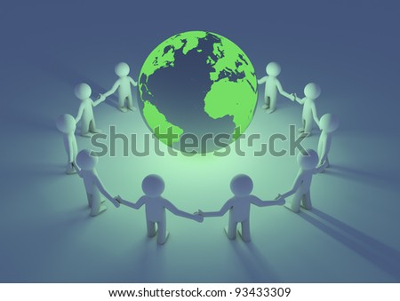 render of a circle of people holding hands with our planet in the middle