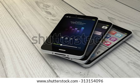 render of a collection of smartphones with different screens and copyspace. All screen graphics are made up. - stock photo