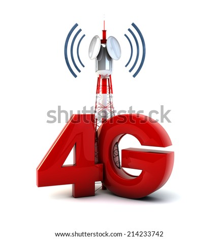 render of a communications tower and the text 4g - stock photo