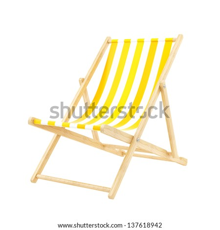 render of a deck chair, isolated on white - stock photo