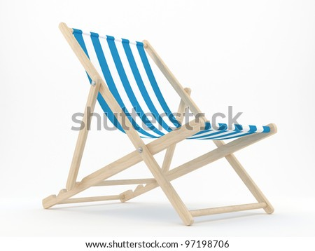 render of a deck chair on a white background - stock photo