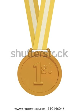 Render of a gold medal with strap isolated on a white background - stock photo