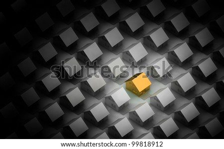 Render of a golden house between the silver houses in orthographic view. Accented by light. - stock photo