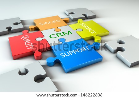 render of a jigsaw with business text written on it