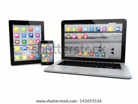 render of a laptop, smatrp phone and tablet pc - stock photo