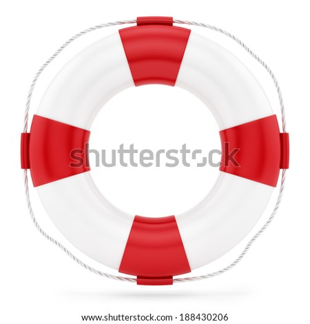 render of a lifebelt, isolated on white - stock photo