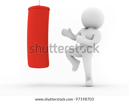 render of a man kicking a red bag - stock photo