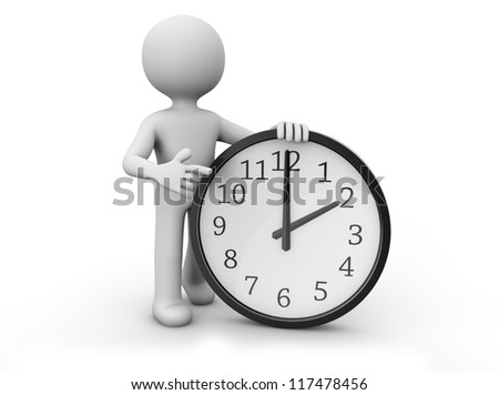 render of a man with a clock