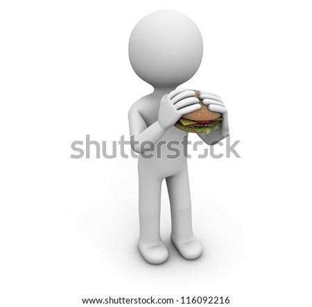 render of a man with a hamburger