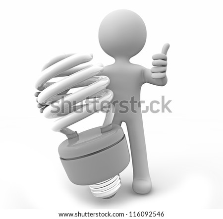 render of a man with a lightbulb - stock photo