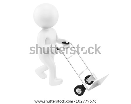 render of a man with an empty hand truck,isolated on white - stock photo