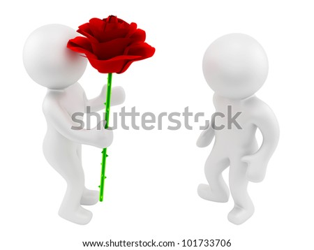 render of a man with rose - stock photo