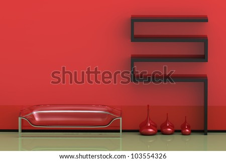Render of a Modern Red And Green Interior - stock photo