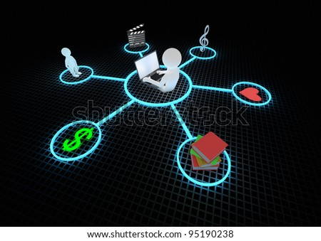 render of a person with laptop connected to the internet - stock photo