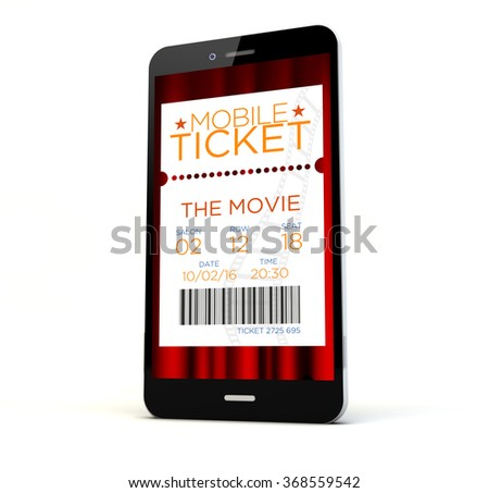 render of a phone with cinema tickets on the screen isolated. Screen graphics are made up. - stock photo