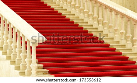 render of a red carpet on stairs - stock photo