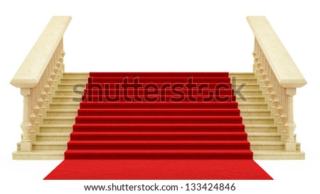 render of a red carpet on stairs, isolated on white - stock photo