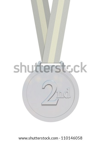 Render of a silver medal with strap isolated on a white background