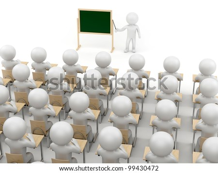 render of a teacher and a class - stock photo
