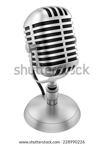render of a vintage microphone, isolated on white - stock photo