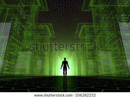 render of a virtual world with a man between giant cubes - stock photo